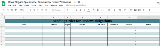 Screenshot of the reading order template