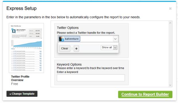 Setup for the Twitter Profile Report setup