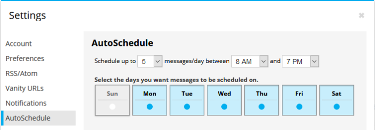 AutoSchedule parameters