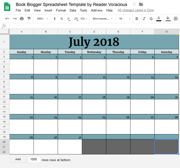 Monthly Posting template example for July 2018