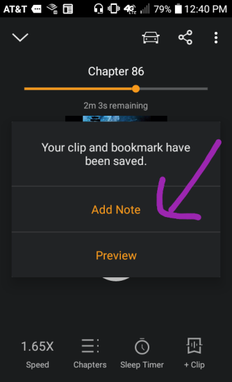 In addition to the anchor on audio, you can add your own note for Future You