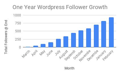 One Year WordPress Follower Growth