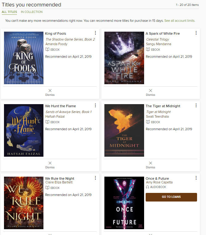 April Library Requests